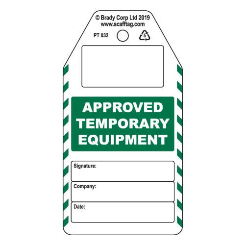 Approved Temporary Equipment Tag