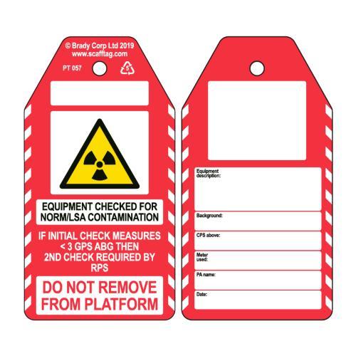 NORM/LSA Contamination Check Tag