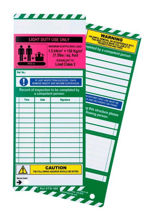 Scafftag Scaffold Inspection Insert Light duty Use