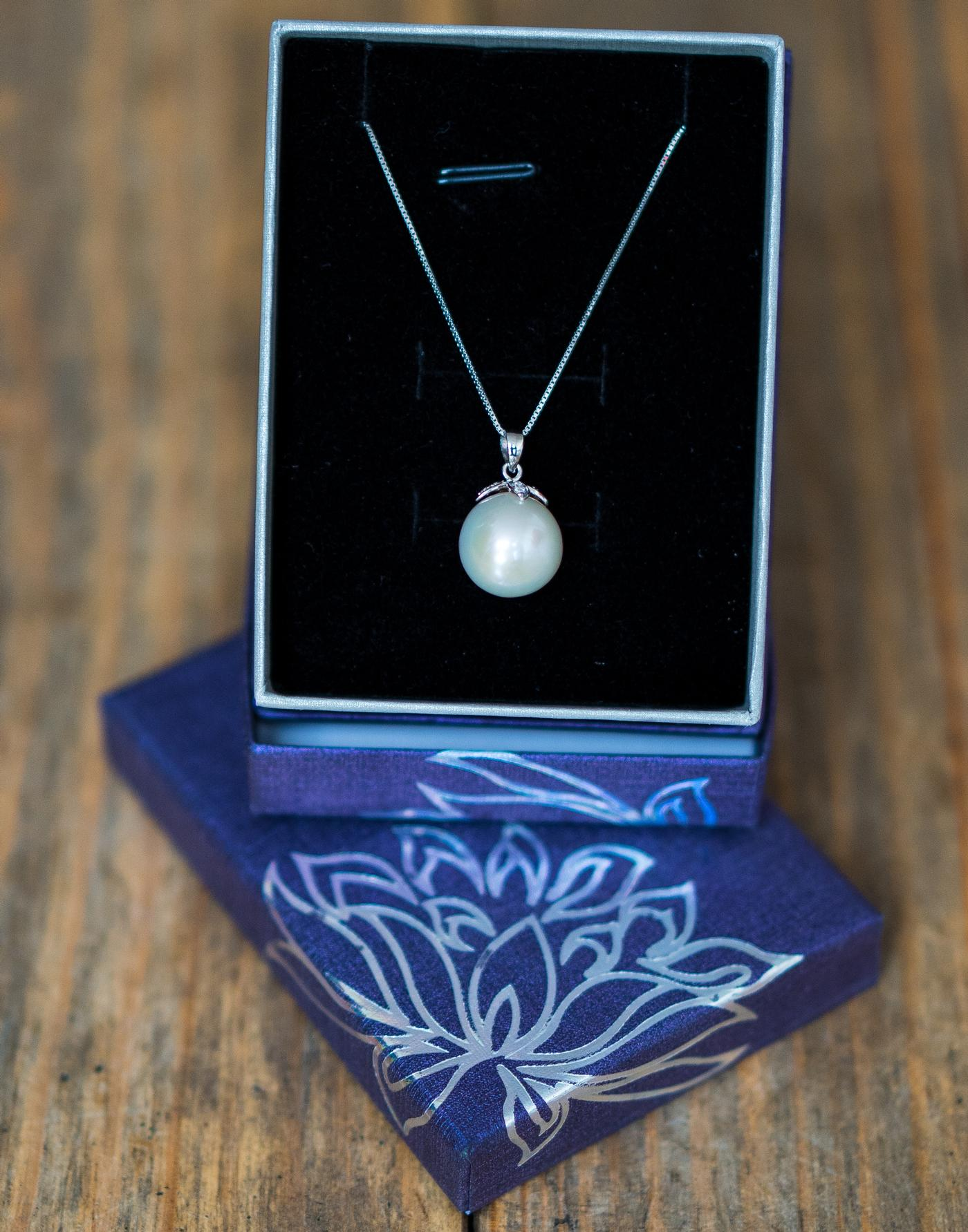White Pearl Pendant with Crystal V Bale