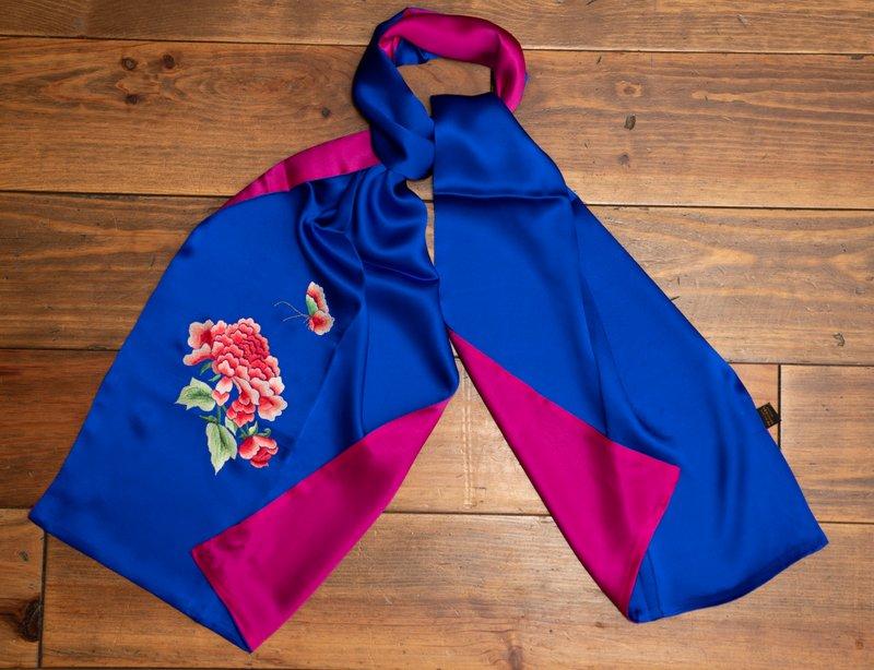 Blue and Pink Peony  Handmade Silk Scarf