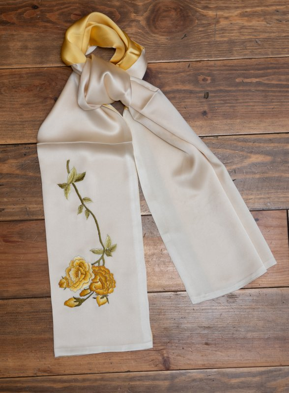 Gold and Champagne Handmade Peony Silk Scarf