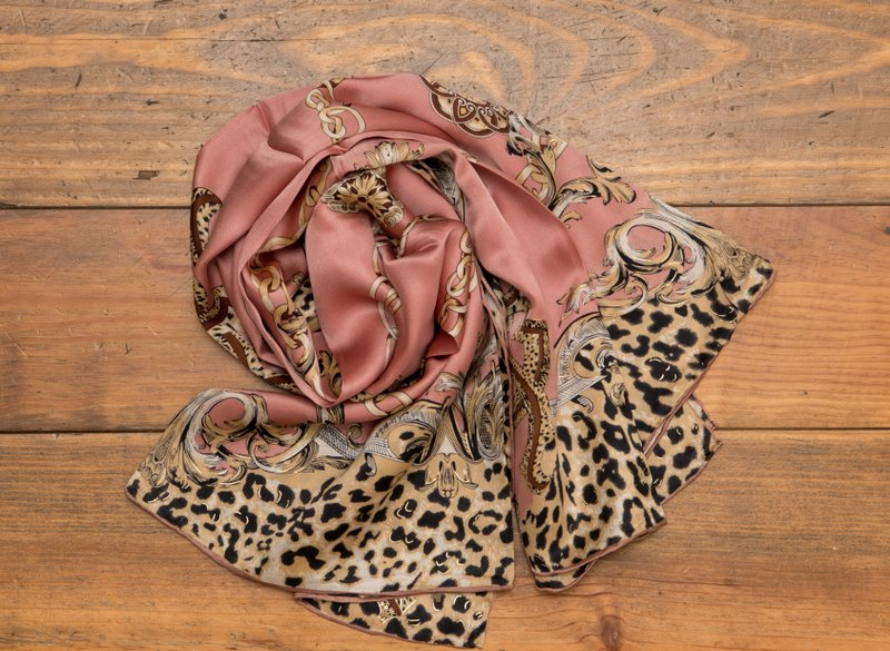 Leopard and letters print Silk scarf