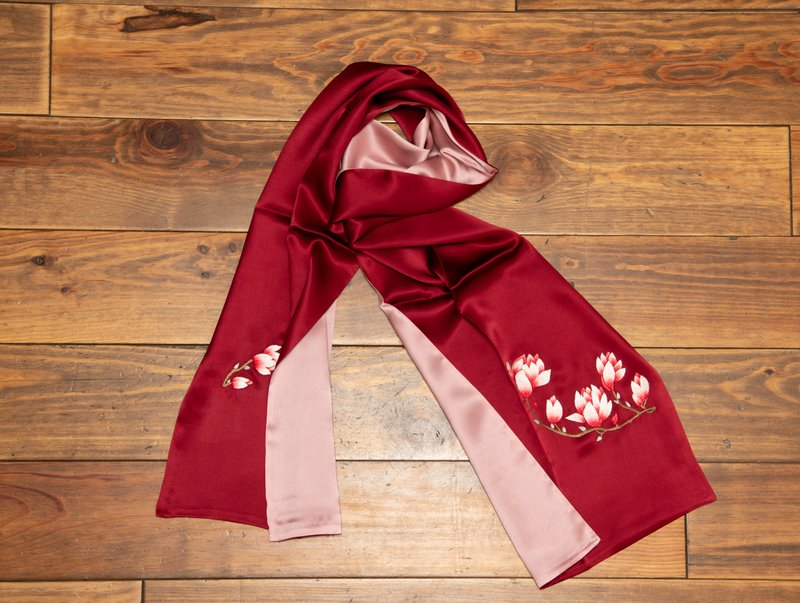 Red and Pink Red Flower Silk Scarf