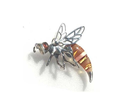 Hand crafted with real amber bee pendant- W42 x 48mm