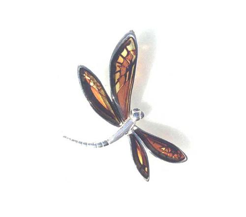 Hand crafted real amber dragonfly pendant- H35 x W38mmm