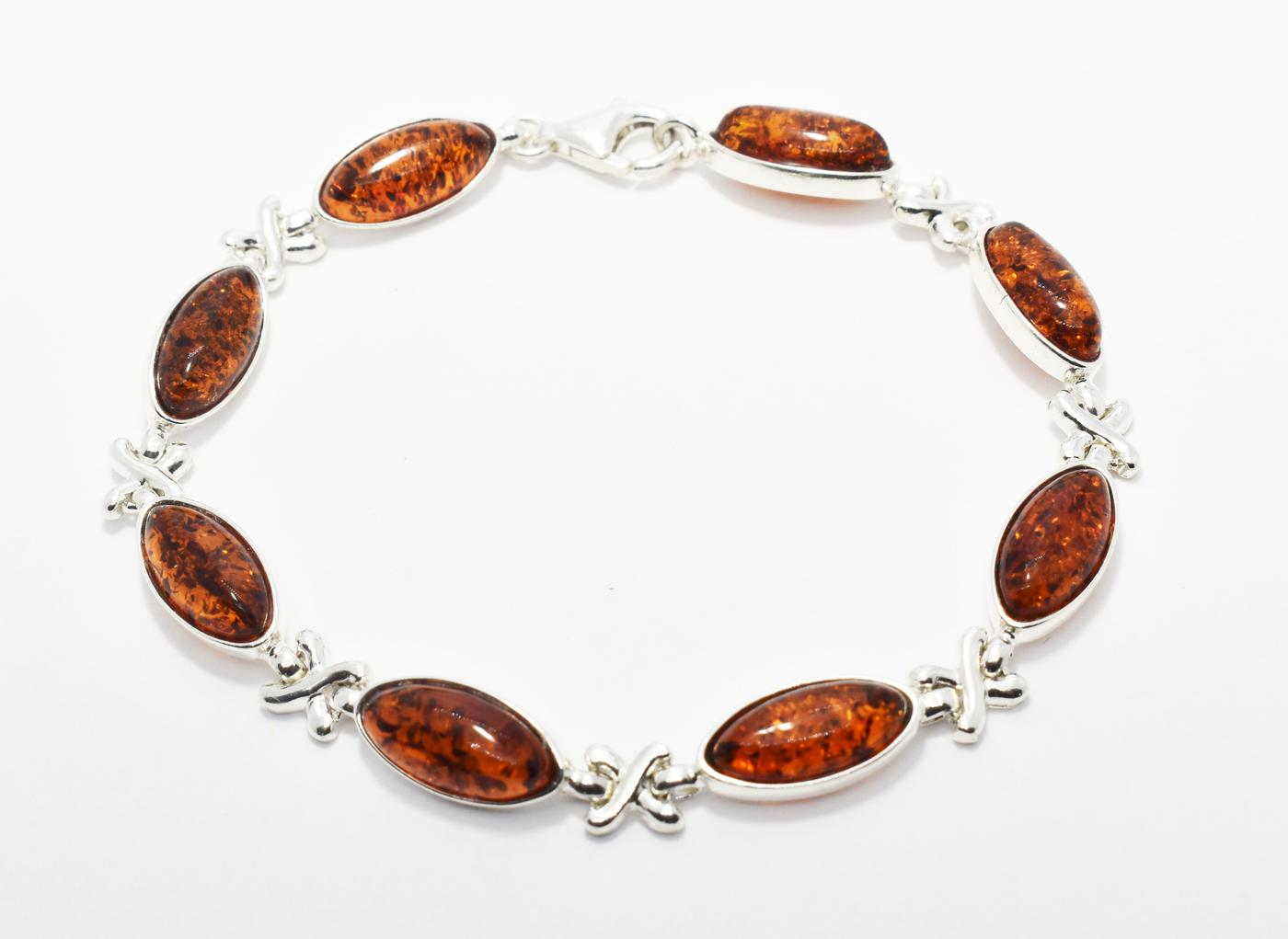 Baltic amber and silver bracelet.  (B007)