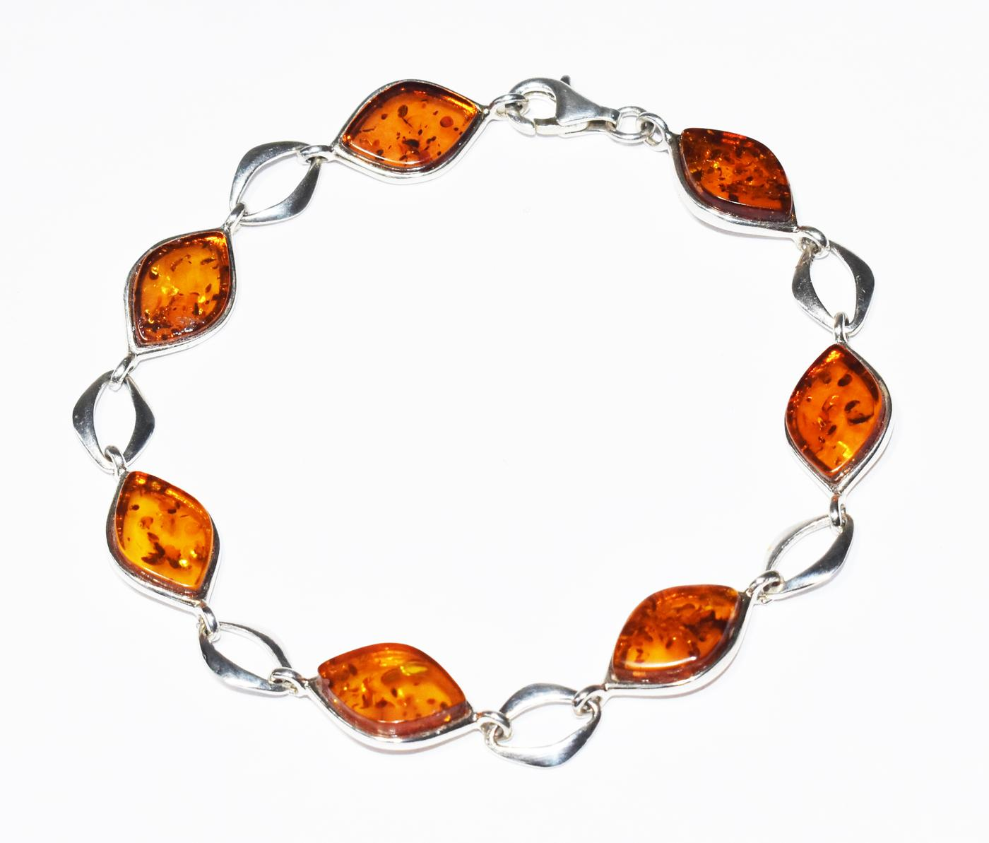 Amassing Baltic amber and silver bracelet.  (B-03)