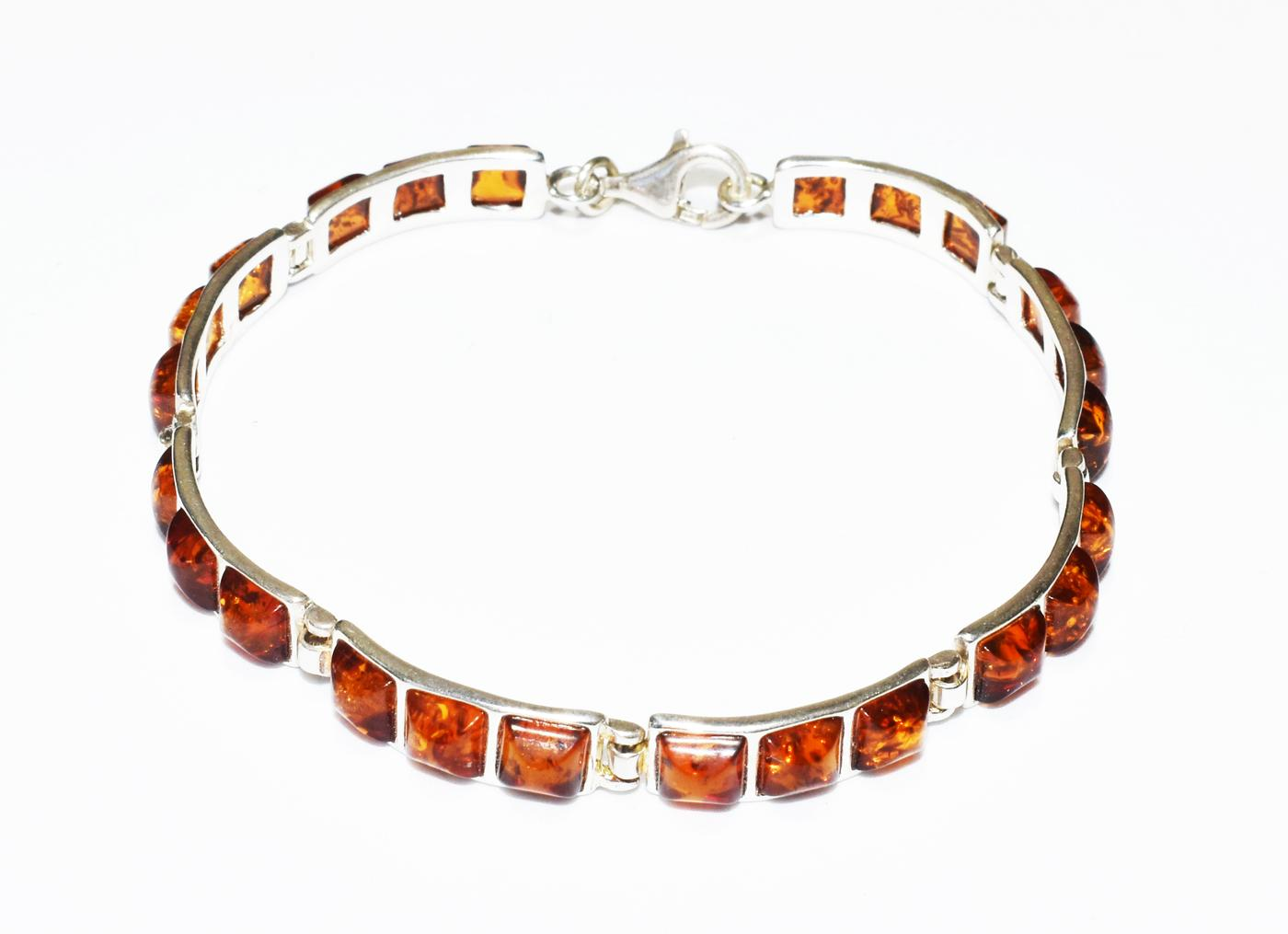 Rectangular Baltic amber and silver bracelet