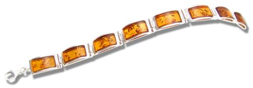 Modern rectangulae amber and silver bracelet