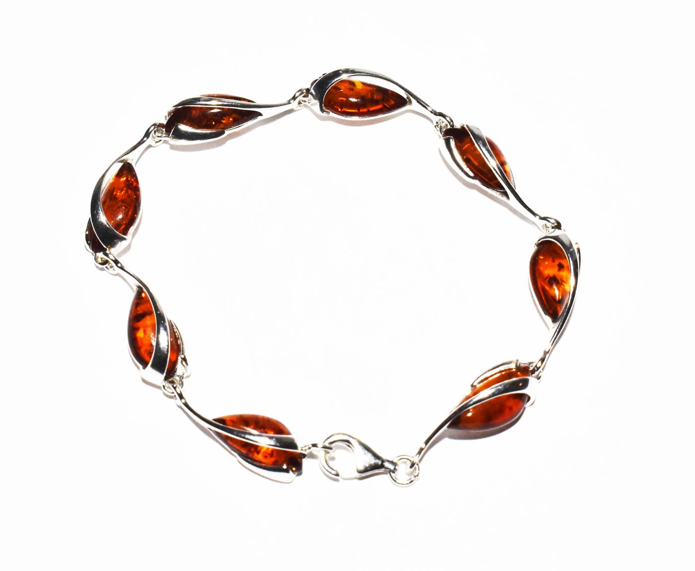 Baltic amber and silver bracelet.   (B-972)