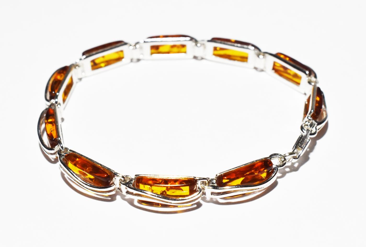 Rectangular amber and silver bracelet