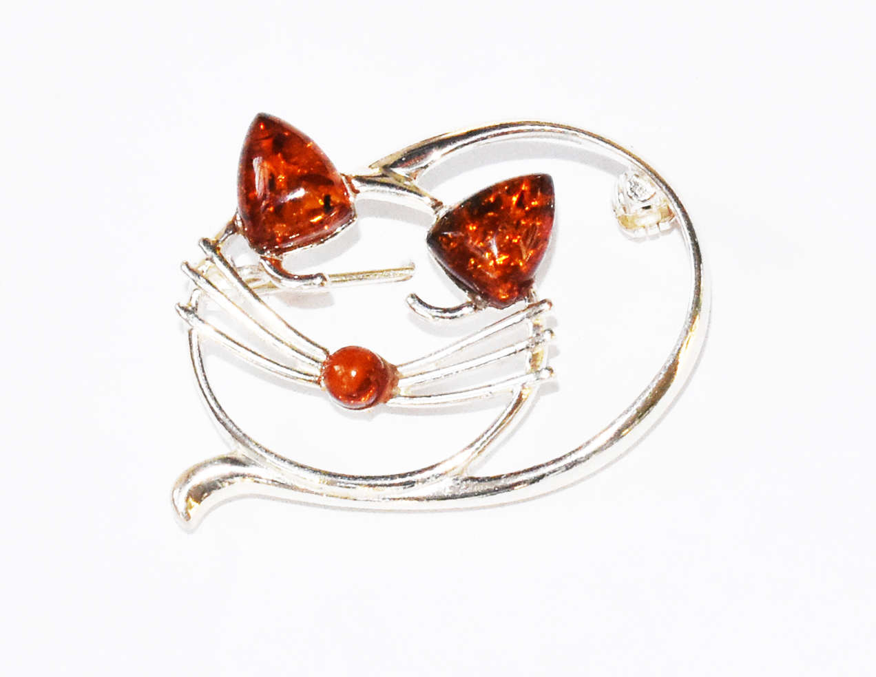 Unique amber and silver cat brooch.  (BR-22)