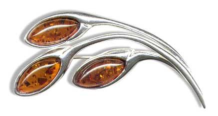 Classic amber and silver brooch- 45x35mm