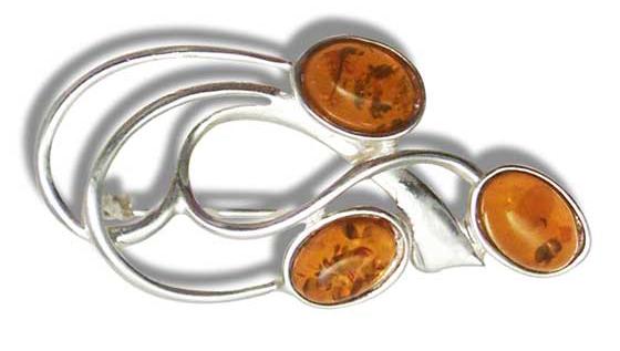 Elegant Baltic amber brooch set in sterling silver (BRkl-07)