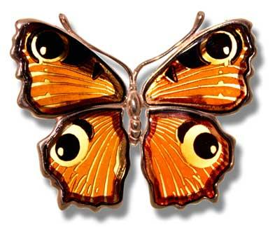 Peacock butterfly brooch in multicolour amber- 45x55mm