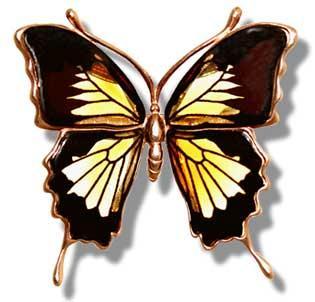 Swallowtail butterfly brooch in multicolour amber- 45x55mm