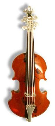 Hand crafted amber violin brooch-  60mm long