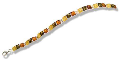 Rectangular multicolour amber and silver bracelet