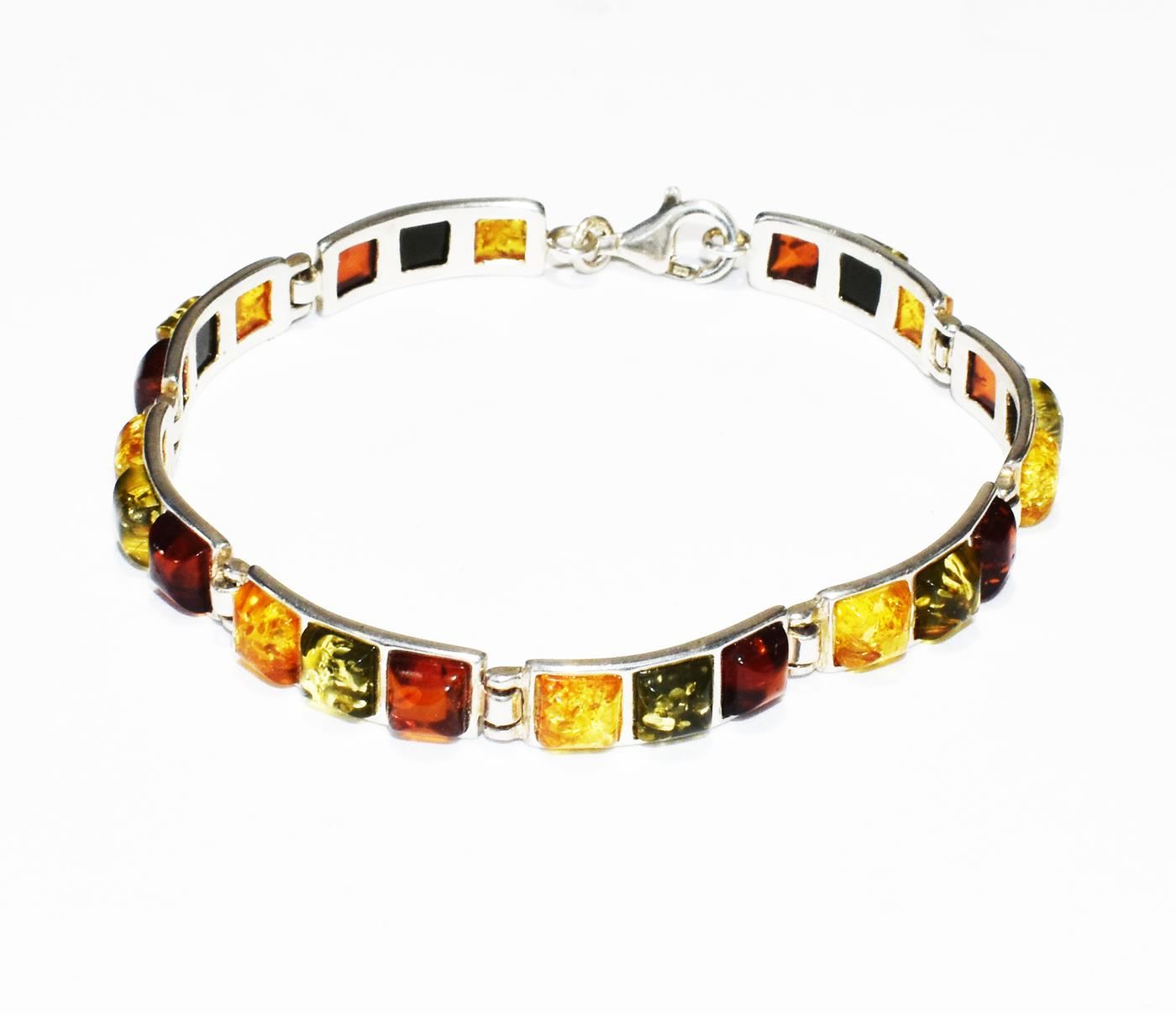 Rectangular multicolour amber and silver bracelet