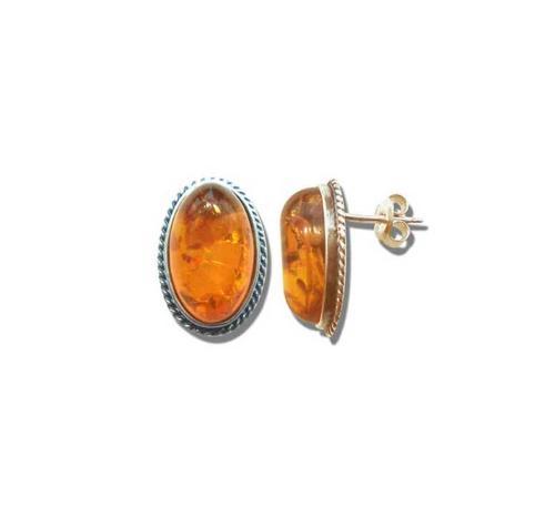 Oval  rope amber stud earrings- 11x13mm