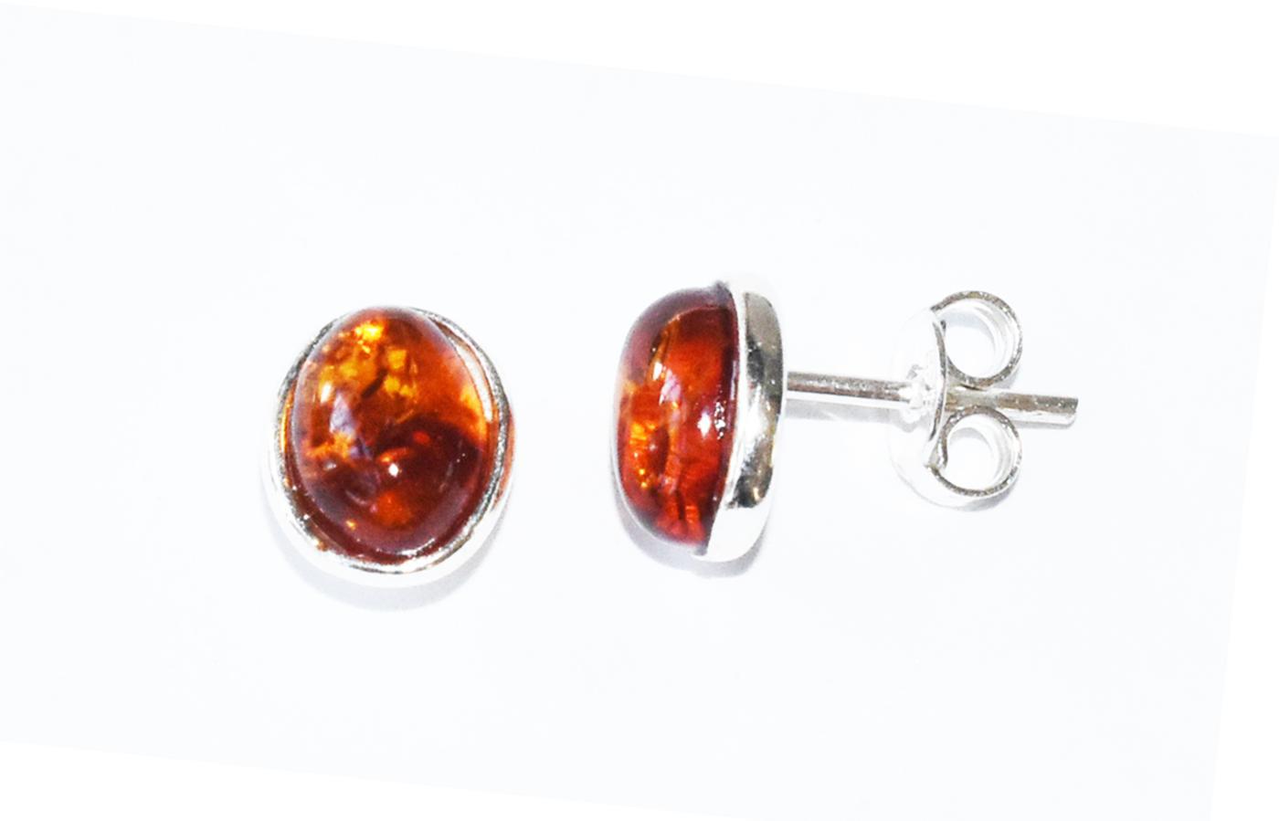 Amber stud earrings set in sterling silver. 8x6mm   (E-01s)