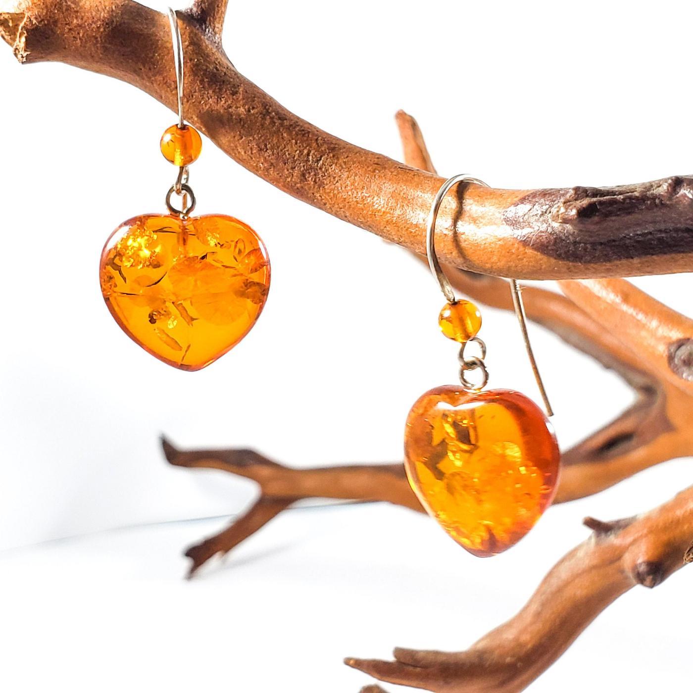 Cognac amber heart drop earrings- 35mm long.  (E-05)