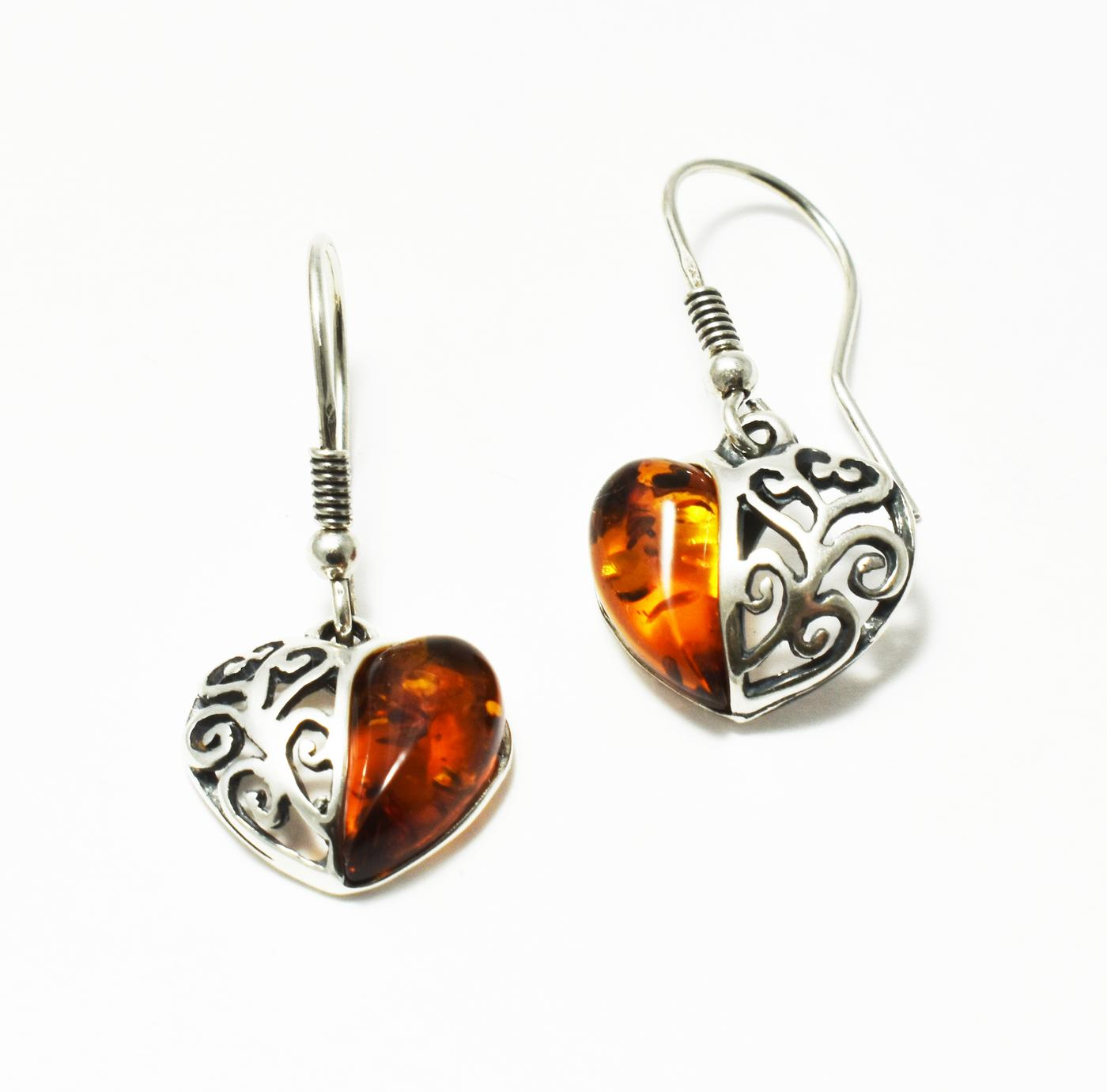 Silver filigree heart amber earrings- length 20mm