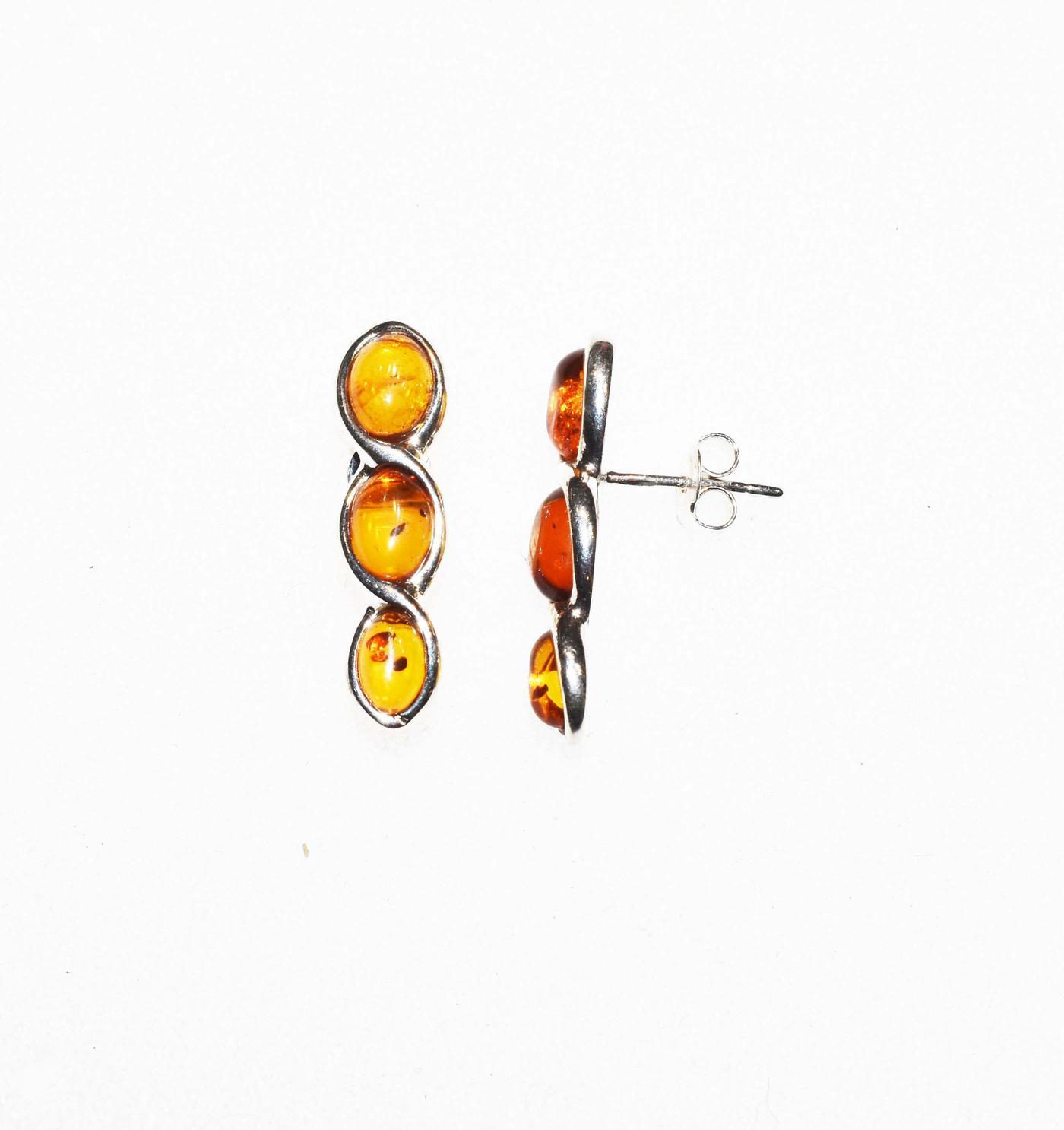 Three oval stones amber stud earrings- 25x7mm   (E-10)