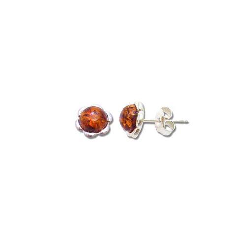 Baltic amber flower stud earrings