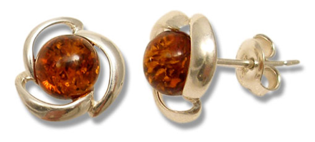 Classic cognac amber stud earrings  (E-311)