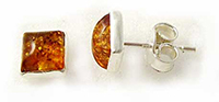 Square Baltic amber stud earrings- 6x6mm  (E-40)