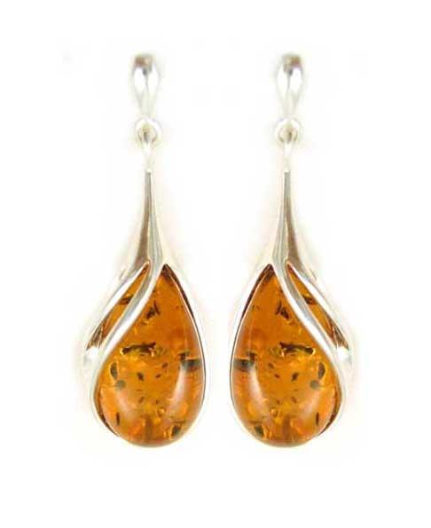 Cognac amber dangle earrings