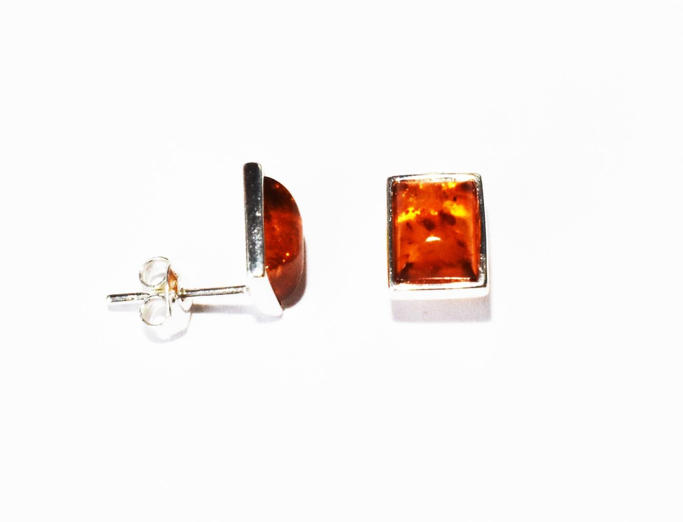 Simple rectangular amber stud earrings.  (E-41)