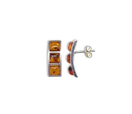 Three stone amber stud earrings-  20x7mm long