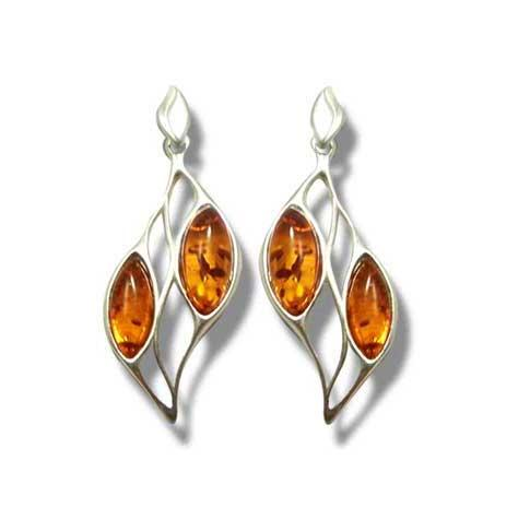 Hand crafte amber and silver earrings