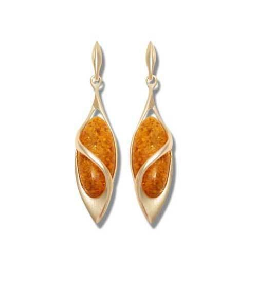 Real amber drop earrings with a silver twist- 46mm