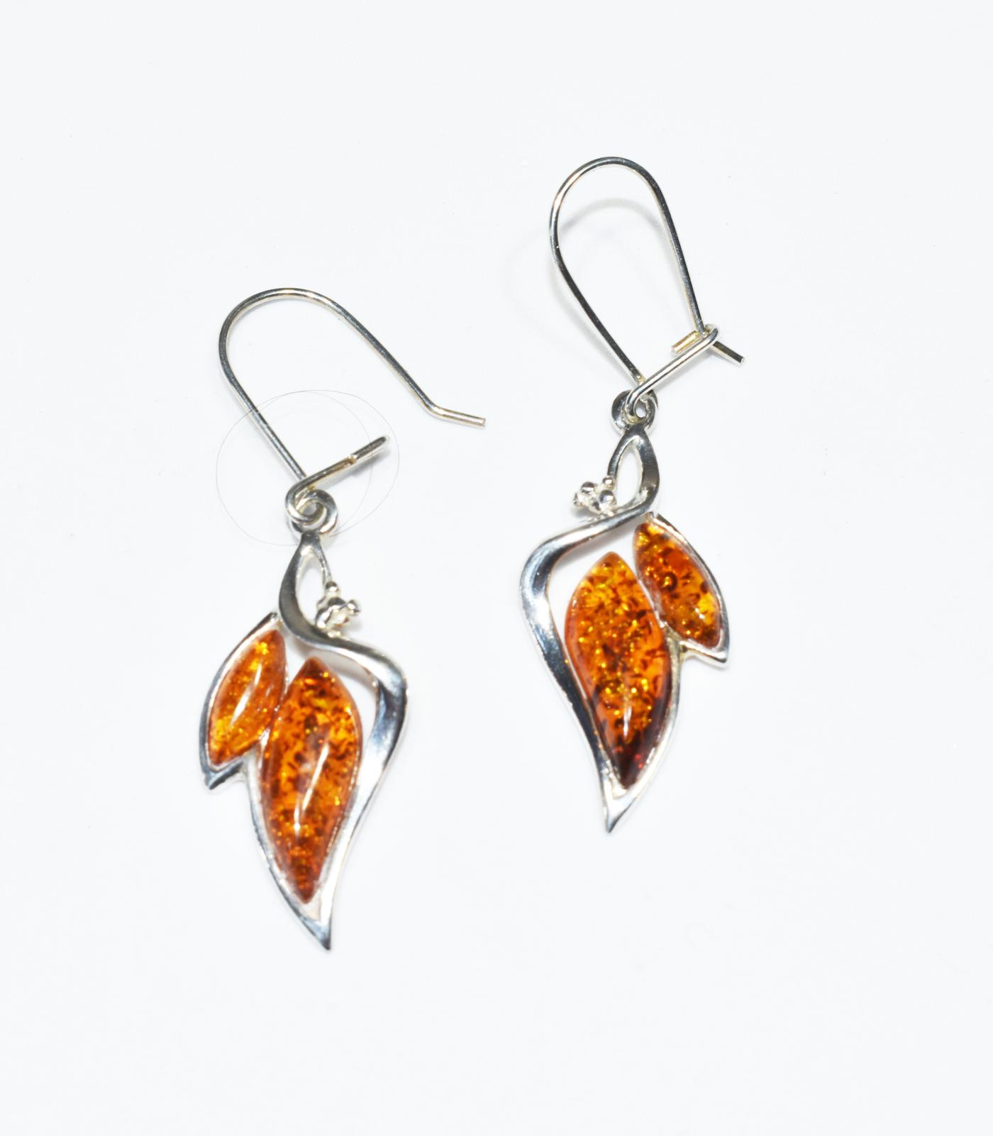 Amber drop earrings with double marcasite- length 38mm