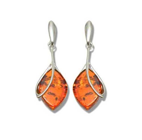 Real amber drop earrings with stud fitting