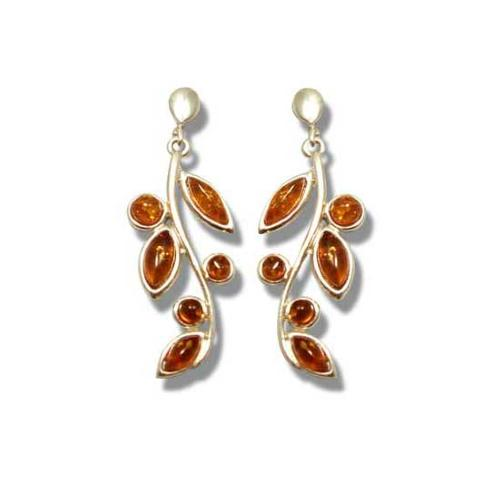 Leaves amber and silver earrings- 40mm
