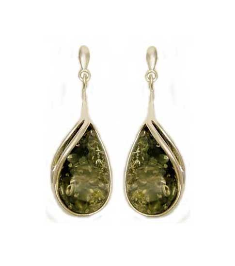 Green amber dangle earrings- 35mm