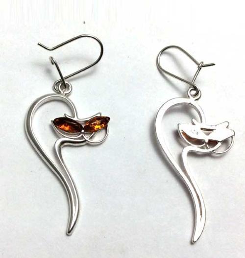 Amber cat drop earrings- 50mm long