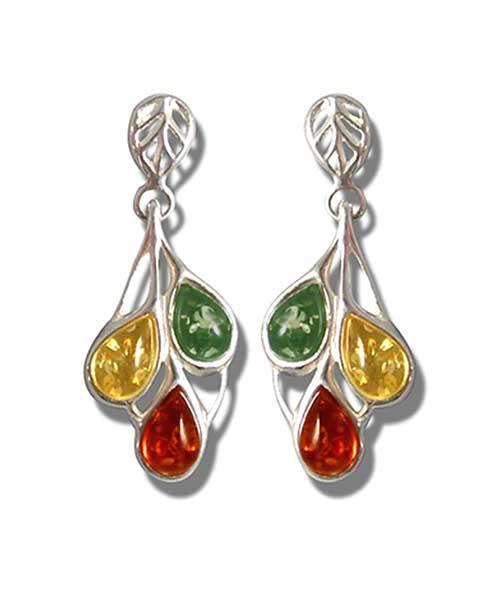 Baltic amber nulticolour drop earrings- 35mm