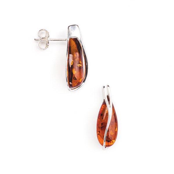 Baltic amber tear drop studs earrings. Ebl-6-110