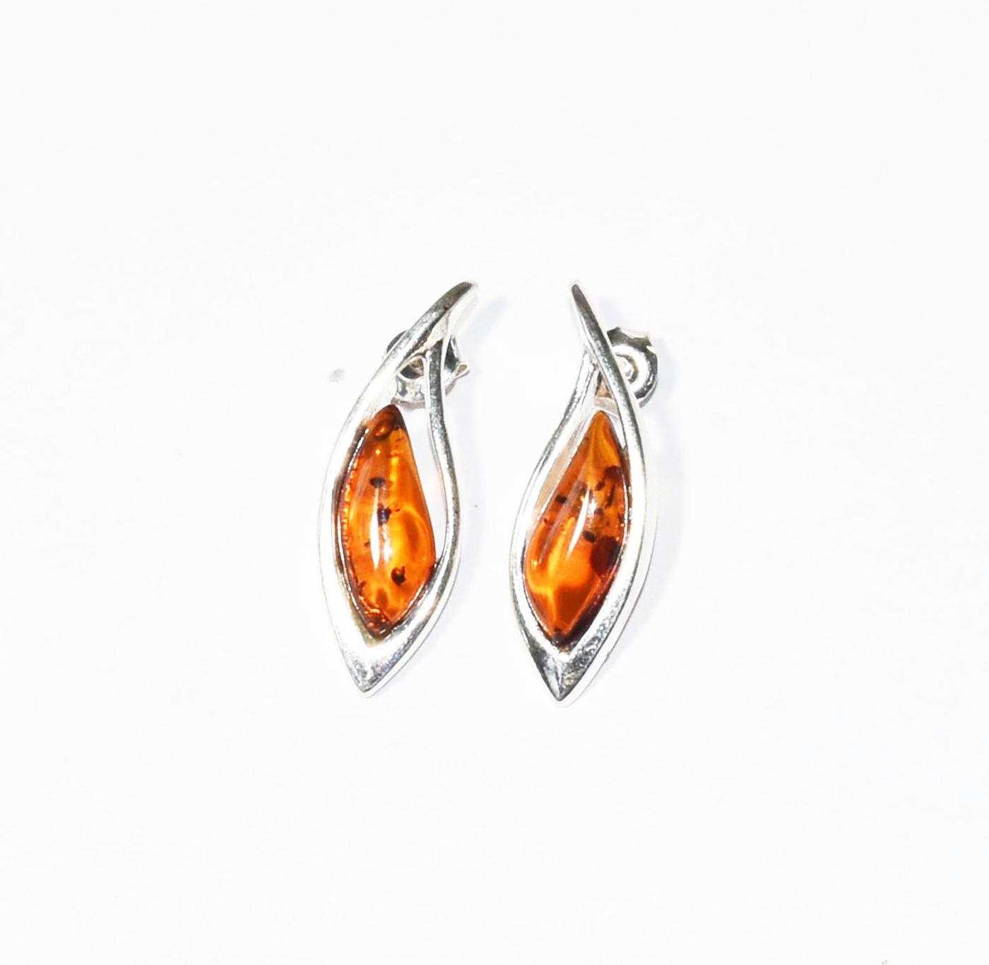 Baltic amber and silver stud earrings in Art Deco style.  (E-815s)