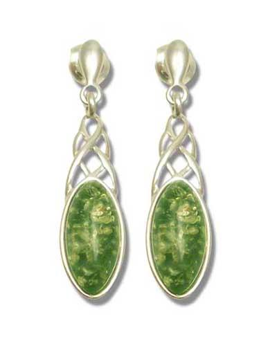 Green amber celtic style earrings- 35mm long