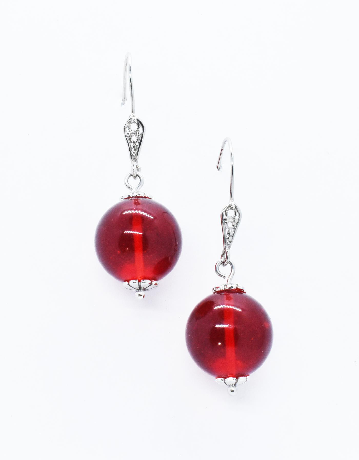 Genuine Ruby Red amber ball earrings in gold.  (Ekl-09)