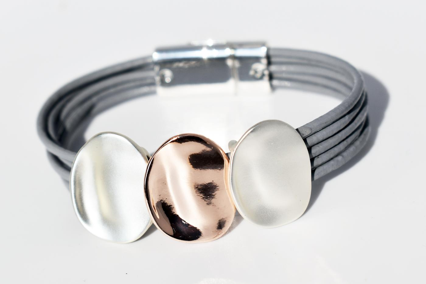 Fashion Bracelet in Silver and Rose Gold  (GRB-01)