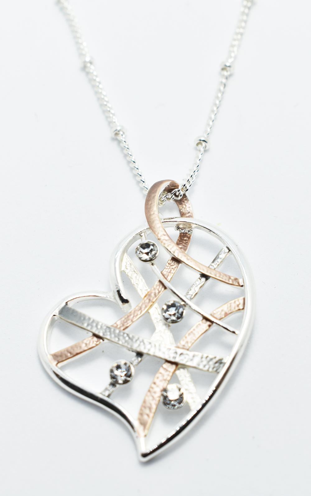 Fashion Necklace: Silver Necklace with a Simple Crystal Encrusted Heart