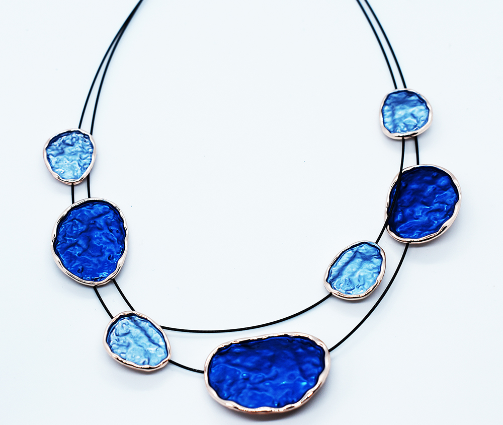 Two Strand Blue Fashion necklace  (GRN-04)